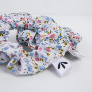 Vintage Scrunchie Blau Rosa